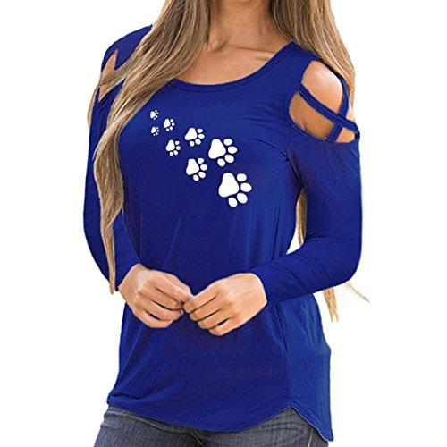MORCHANFemmes Automne Hiver Slim Animal Rythme Manches Longues Imprimer Strappy Cold Shoulder T-Shirt Tops Blouses(FR-40 / CN-M,Bleu)