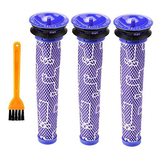 Waschbar Pre Motor Stick Filter Zubehör für Dyson DC58 DC59 DC61 DC62 DC74 V6 V7 V8 Staubsaugerzubehör (3 Stück) - Pre Motor Filter