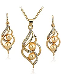 DesignIN Emelie Jewelry Set 18k Gold Plated Cubic Zircons Pearl Earrings & Necklace Set - Gold Pearls