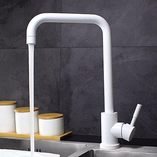 KHSKX-Acero Inoxidable Ducha Fría Y Caliente Fregadero Grifos De Agua Blanca Black-And Cocina Grifo Gire El Blanco