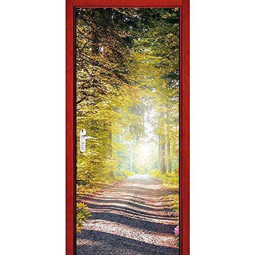 Trompe l'oeil 3D Photo Chemin De La Forêt Auto Adhésif Amovible Imperméable PVC Autocollants De Porte Muraux Reconditionné Art Decor Affiche
