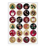 24 autocollants rétro pour l'Avent avec les chiffres 1-24 sur les symboles de Noël, rouge vert, autocollants en papier mat pour calendriers de l'Avent, cadeaux de Noël, étiquettes (ø 45mm)