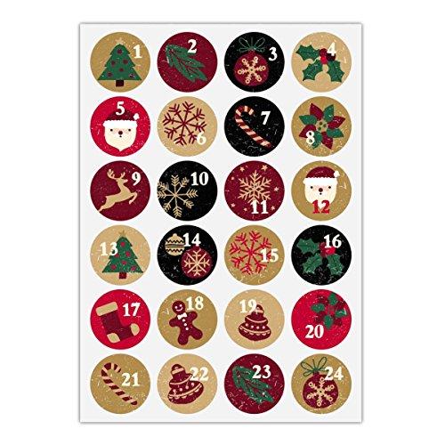 (24 Retro Advents Aufkleber mit den Zahlen 1 - 24 auf Weihnachts Symbolen, rot grün, MATTE universal Papieraufkleber für Adventskalender, Weihnachts Geschenke, Etiketten für Tischdeko, Pakete, Briefe und mehr (ø 45mm)