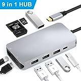 Excuty Concentrador USB C, USB C 9 en 1 con Puerto HDMI 4 K y Hub Red LAN RJ45 Gigabit Ethernet, con Puertos 4usb3.0, Lector de Tarjeta SD/TF y Puerto de Carga USB C