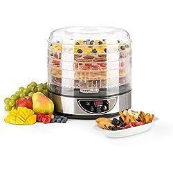 Klarstein Fruitower D - Déshydrateur 35-70°C, Minuteur 5 étages 200-240W, Réglage de la température et du minuteur, Conservation protégeant les aliments, 5 étages et couvercle