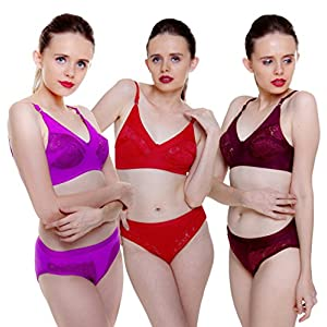 11b974b469 Fashion Comfortz Women s Girls Lace Katty Lycra Spandex (4WAY) Bikini Set  for Women