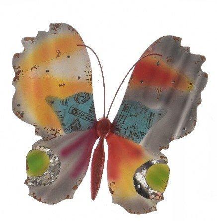TFH Wanddeko Schmetterling bunt XXL Metall Wandverzierung Gartendeko modern ausgefallen Deko Rostdeko Gartendeko (Bunt)