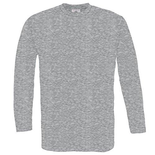 B & C Exact 150langärmelige T-Shirt Herren Casual Wear, Rundhalsausschnitt, einfarbig, Tees/Top Grau - Grau (Sports Grey)