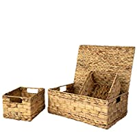Set 3 Pack Nesting Storage Baskets, 1 Lidded Basket and 2 Open Storage Bins | Closet Wicker Baskets for Shelves with Insert Handles | Straw Wire Woven Baskets for Home Organisation (Water Hyacinth)