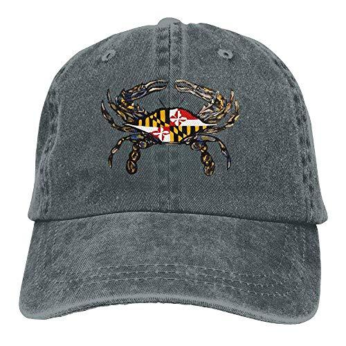 UUOnly Männer & Frauen Einstellbare Garn-gefärbte Denim-Baseballmütze Maryland Crab Lacrosse Plain Cap -