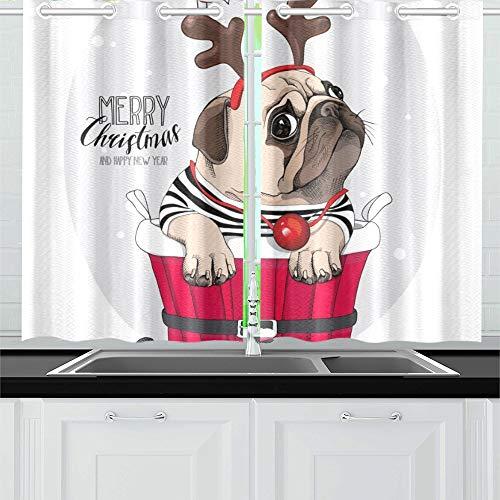 JOCHUAN Weihnachtskarte Mops Hund Santas Deer Küche Vorhänge Fenster Vorhang Stufen für Café, Bad, Wäscherei, Wohnzimmer Schlafzimmer 26 X 39 Zoll 2 Stück