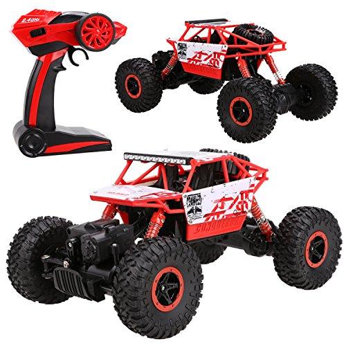 Ancheer-de 2,4 GHz 4WD Rock Crawler RC Car Geländewagen Auto, 1:18 Fernbedienung Monster Truck/Off Road Fahrzeug (Rot)