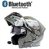 Moto Casco Bluetooth Casco Anti-Collisione Casco Modulare D.O.T Certificazione Flip Frontale Anti-Fog Doppio Specchio Risposta Automatica Bluetooth Musica (M, L, XL, XXL),Blackgreen,M57CM~58CM