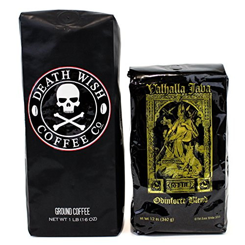 Death Wish & Valhalla Java Ground Coffee Bundle Deal, USDA Certified Organic & Fair Trade (1 of Each Bag) 51jFoaNCMXL