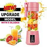 LATEST UPGRADED 6 Blades - High Quality Portable USB Electric Juicer with Filter Lid, Blender Drink Bottle & Juicer Cup with Rechargeable 2000 mAh Power Bank & USB Cable Charging (Model: ST-018, 380 ml)