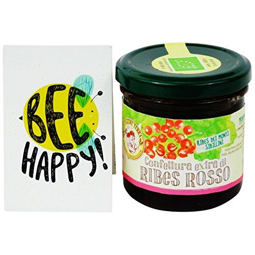 Confettura Extra di Ribes Rosso con Zucchero di Canna - Prodotto Biologico Italiano - Provenienza ribes rosso: Parco nazionale dei Monti Sibillini