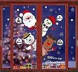 Tuopuda NoëL Autocollants Fenêtre de Noël Stickers Porte Verre Autocollant Bonhomme de Neige Wapiti Flocon de Neige Père Noël Arbre de Noel Statique Fenêtre Sticker Amovible DéCalcomanie PVC