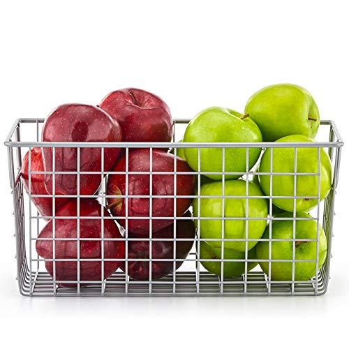 ahrungskorb aus Metall für Küche, Regale, Speisekammer - Klein, Silberfarben ()