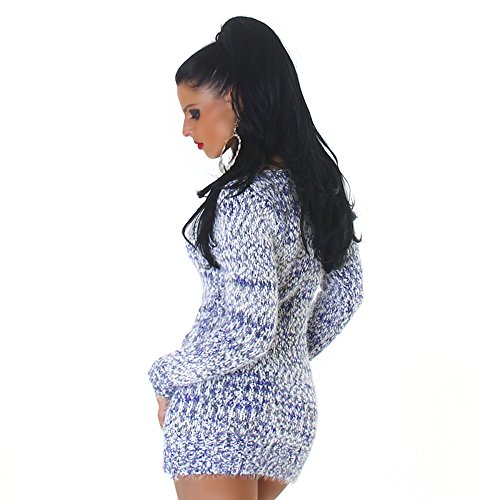 Confortable tricot pull tricot robe mini robe col rond de Jela femmes Londres Navy