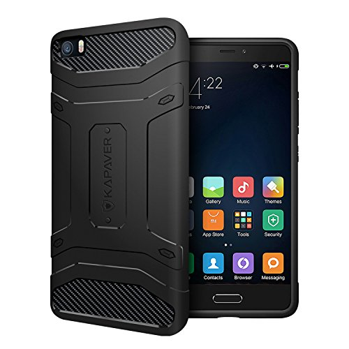Xiaomi Mi5 Funda Case, KAPVER rígida con relieve, color negro prueba de...