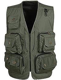 Vdual Uomo Smanicato Gilet Per Outdoor Multi-Tasche Giubbino Da Lavoro Per  Pesca Reporter Caccia 41108be7460