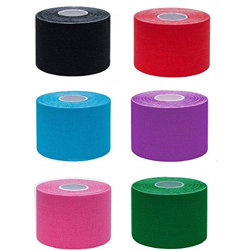 Ziatec Pro Kinesiologie Tape - Physio-Tape -Sport-Tape - Elastische Bandage für Physiotherapie, Sport, Freizeit und Medizin. 100% Gewebte Baumwolle, wasserresistent, 6 x Farbmix …