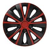 14 Zoll Bicolor Radzierblenden RAPIDE DC (Rot/Schwarz). Radkappen passend für fast alle OPEL wie z.B. Corsa D