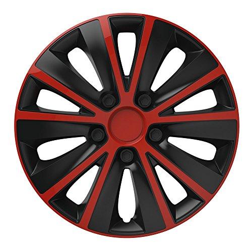 16 Zoll Bicolor Radzierblenden RAPIDE DC (Rot/Schwarz). Radkappen passend für fast alle OPEL wie z.B. Meriva B - Rote Schwarze Felgen Und