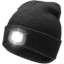 freih/ändiges Licht POWERCAP Beanie 4 LED leuchtende Beanie M/ütze olive Grillen Jagen Camping Joggen SKI praktisch zum Laufen