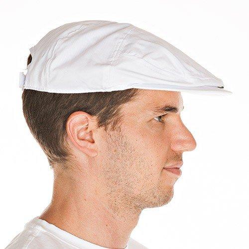 Schirmkappe, Schirmmütze, Fleischer-Mütze, Bäckermütze, Kopfbedeckung, Clubkappe, weiß