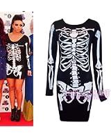 (womens long sleeve skeleton bodycon tunic)(mtc) frauen Skeletts Tunika (36/38 (uk 8/10), (black/white) schwarz/weib)