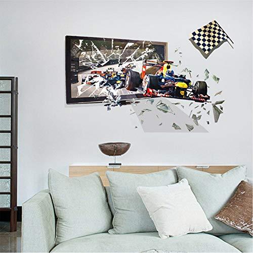 mzdzhp Wandaufkleber 3D Rennwagen Breaking The Frame Hintergrund Wanddekoration Wandaufkleber 100X66cm