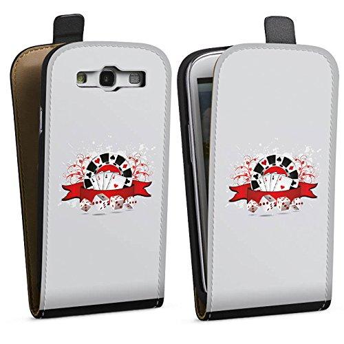 DeinDesign Tasche kompatibel mit Samsung Galaxy S3 Flip Case Hülle Poker Karten Cards -