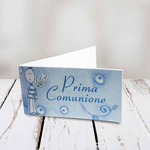 Kamiustore bigliettini comunione bimbo/bimba in 3 diverse fantasie set da 20, 50, 100, pezzi (50 pezzi, azzurro)