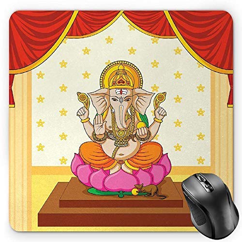 Sacred Mouse Pad, Bohemian Yoga Meditation Spiritual Ancient Mythological Character Religion Temple Gaming Mousepad Office Mouse Mat Multicolor