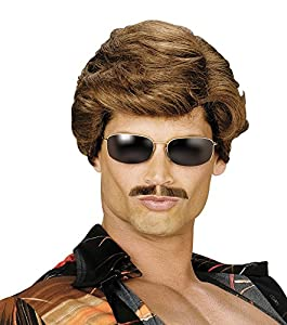 NEW WHAM GEORGE MICHAEL BROWN WIG FANCY DRESS (peluca)