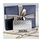 #7: Customized Silver Color Card Holder and Pen - Giftacrossindia