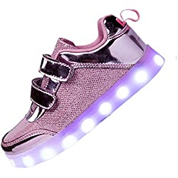 DoGeek Zapatos LED Niños Niñas Negras Blanco 7 Color USB Carga LED Zapatillas Luces Luminosos Zapatillas LED Deportivos para Hombres Mujeres (Elegir 101 Tamaño Más Grande)
