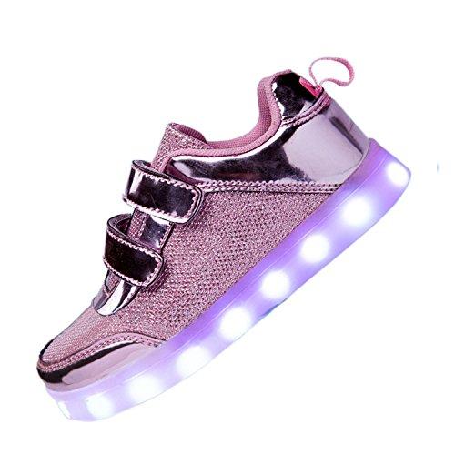 DoGeek LED Schuhe Kinder 7 Farbe USB Auflade Leuchtend Sportschuhe Led Sneaker Turnschuhe (Wählen Sie 1 größere Größe)