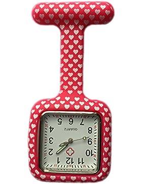 SQUARE Red Hearts Krankenschwestern Silikon Tunika Brosche Taschenuhr Boolavard® TM