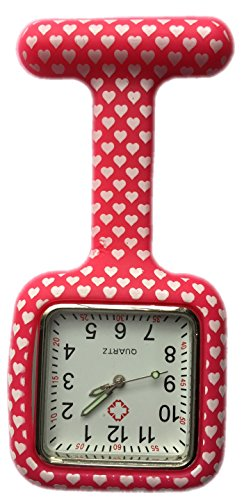 Boolavard-TM-Nurses-Fashion-Coloured-Patterned-Silicon-Rubber-Fob-Watches-SQUARE-Red-Hearts