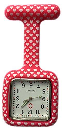 BOOLAVARD Enfermeras Moda de Color con Dibujos de Silicona de Goma Fob Relojes - Square Red Heart