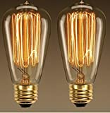 #8: D'Mak 40w Dimmable Industrial Pendant Filament Light Bulbs led bulb with Vintage Antique Style Design for Pendant Lighting, Wall Sconces, Ceiling Fan and Chandeliers - 370 Lumens-pack of 2