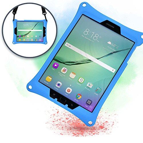 Samsung Galaxy Tab S3 9.7 Schutzhülle Tragegurt Cooper Bounce Strap Tragehülle mit verstellbarem Standfuß, robust, stoßfest und sturzfest – für Erwachsene und Kinder (Blau)