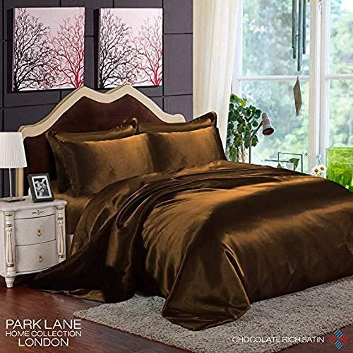zlzty 6Pcs Satin Silk Complete Bettwäsche Set Bettbezug Spannbetttuch 4 Kissenbezüge, Einzelbettbezug, Bettwäsche Set @ Double_Chocolate -