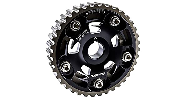 VMS RACING Adjustable Fang CAM GEAR in BLACK Anodized Machined CNC Billet Aluminum Compatible with Honda Civic D15 D16 1.5L 1.6L SOHC 92-95 1992-1995