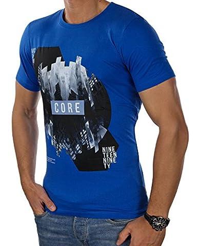 JACK & JONES Herren T-Shirt jcoEMILIO Print Rundhals Mehrfarbig Slim Fit und Oversize (L, Blau (Lapis Blue