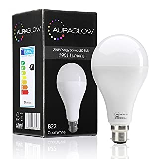 AURAGLOW Super Bright 20w LED B22 Bayonet Light Bulb, Cool White, 6500K - 1901 Lumens - 120w EQV