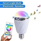 Handingsm Bluetooth Smart RGB LED Lampadina luce di notte, altoparlante di musica, smartphone controllato multicolore cambia colore luci funziona con iPhone, iPad, telefono Android e tablet (1PCS)