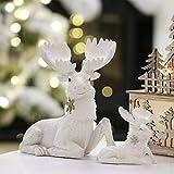 Valery Madelyn 2Pcs Adornos de Navidad, 7cm/15cm Decoraciones de Navidad de Estatuilla de Reno de Resina Blanco y Plata, Estatuas de Centro y Mesa (Invierno Helado)